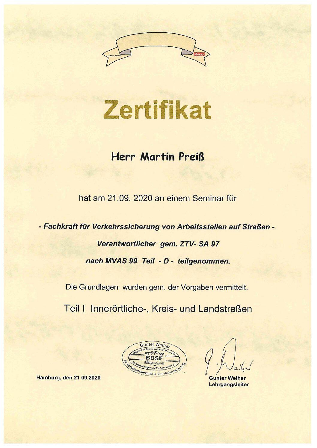 schadstoffsanierung - Zertifikat Verkehrssicherung M Preiss pdf