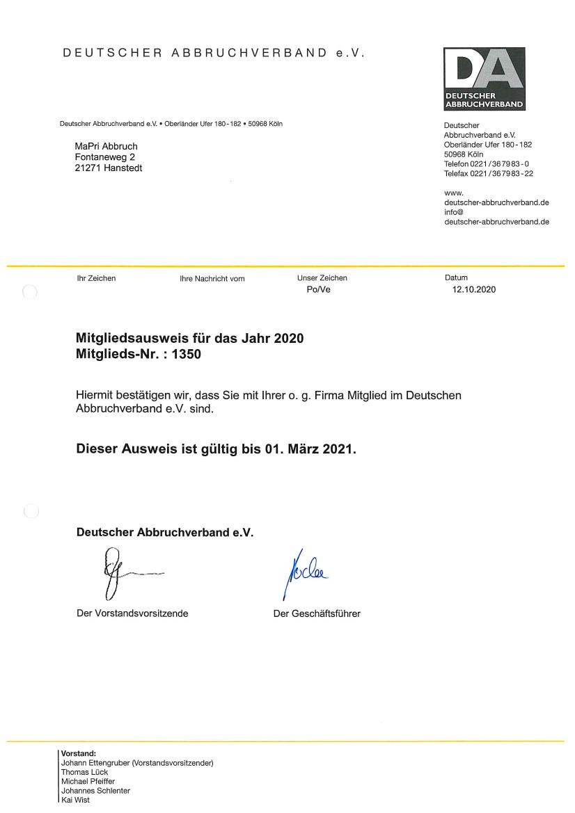 schadstoffsanierung - Mitgliedsbescheinigung 2020