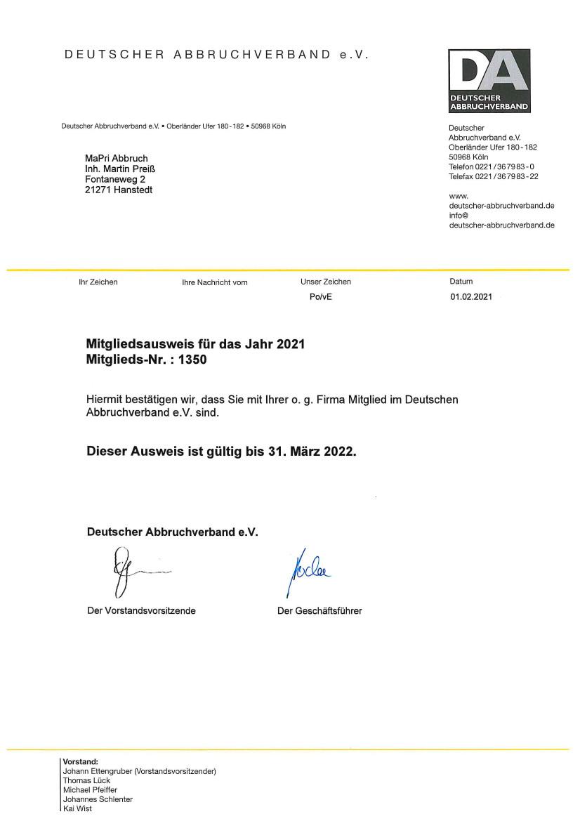 Erdarbeiten - Mitgliedsbescheinigung 2021