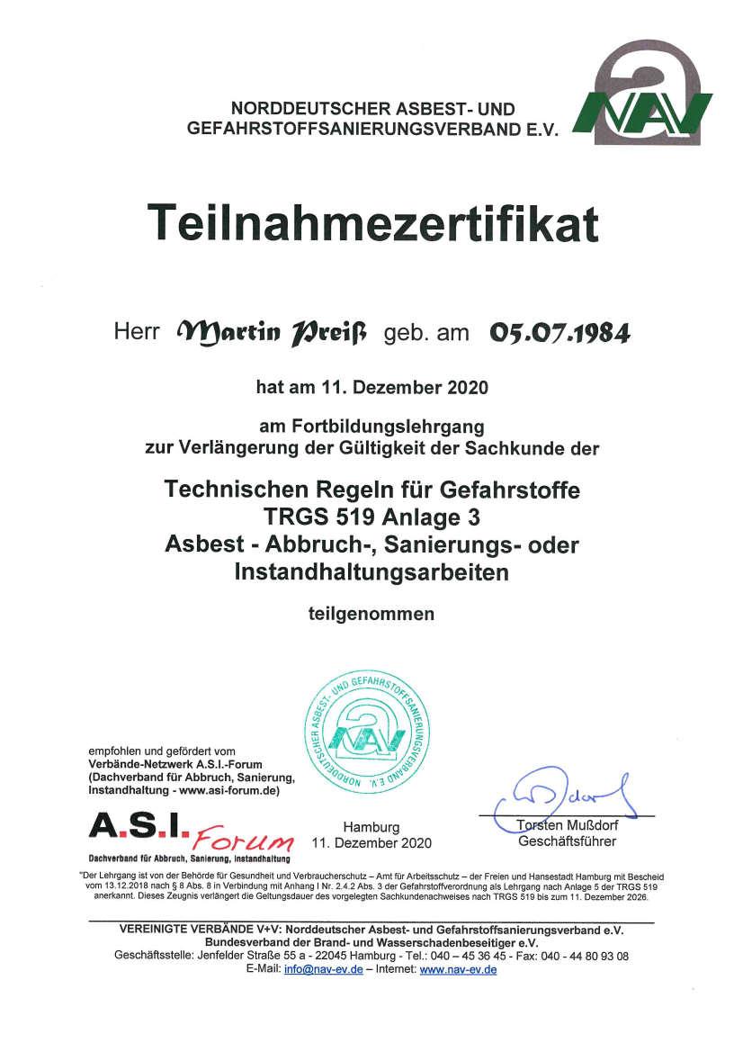 schadstoffsanierung - Weiterbildung TRGS 519